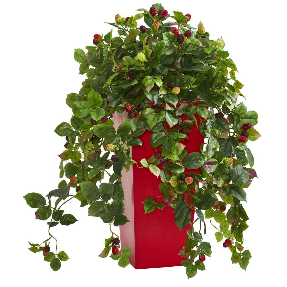 30 in. Indoor Rasberry Artificial Plant in Red Tower Planter
