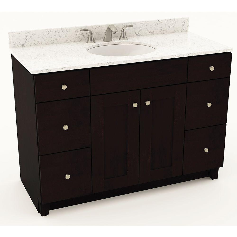 American Woodmark Reading 49 in. W x 20-34 in. D Bath Vanity in Espresso with Quartz Vanity Top in White Arabesque with Oval White Basin