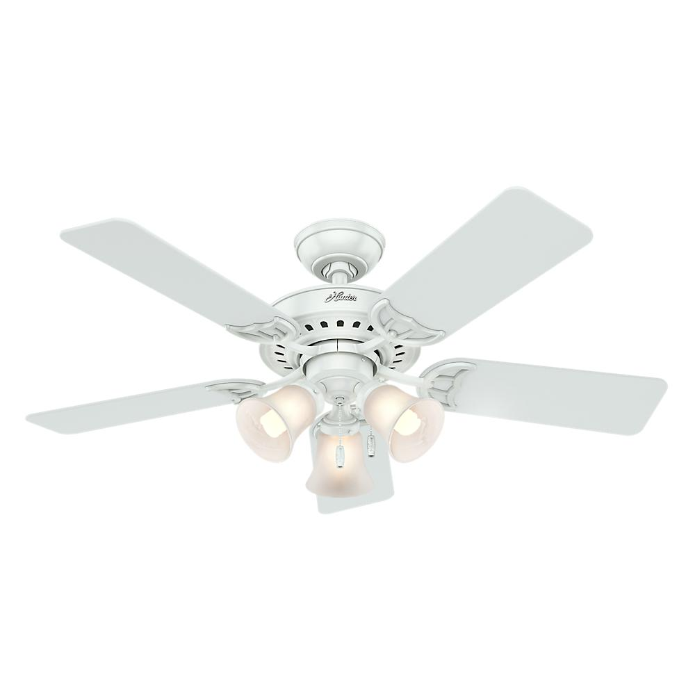 Hunter Stonington 46 In Indoor White Ceiling Fan With Light Kit Wiring Diagram Further