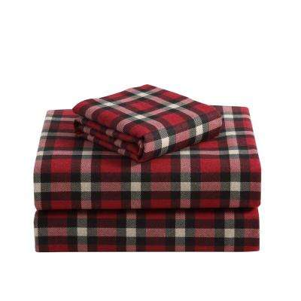 Morgan Home Geraldine Cotton Red Flannel King Sheet Set