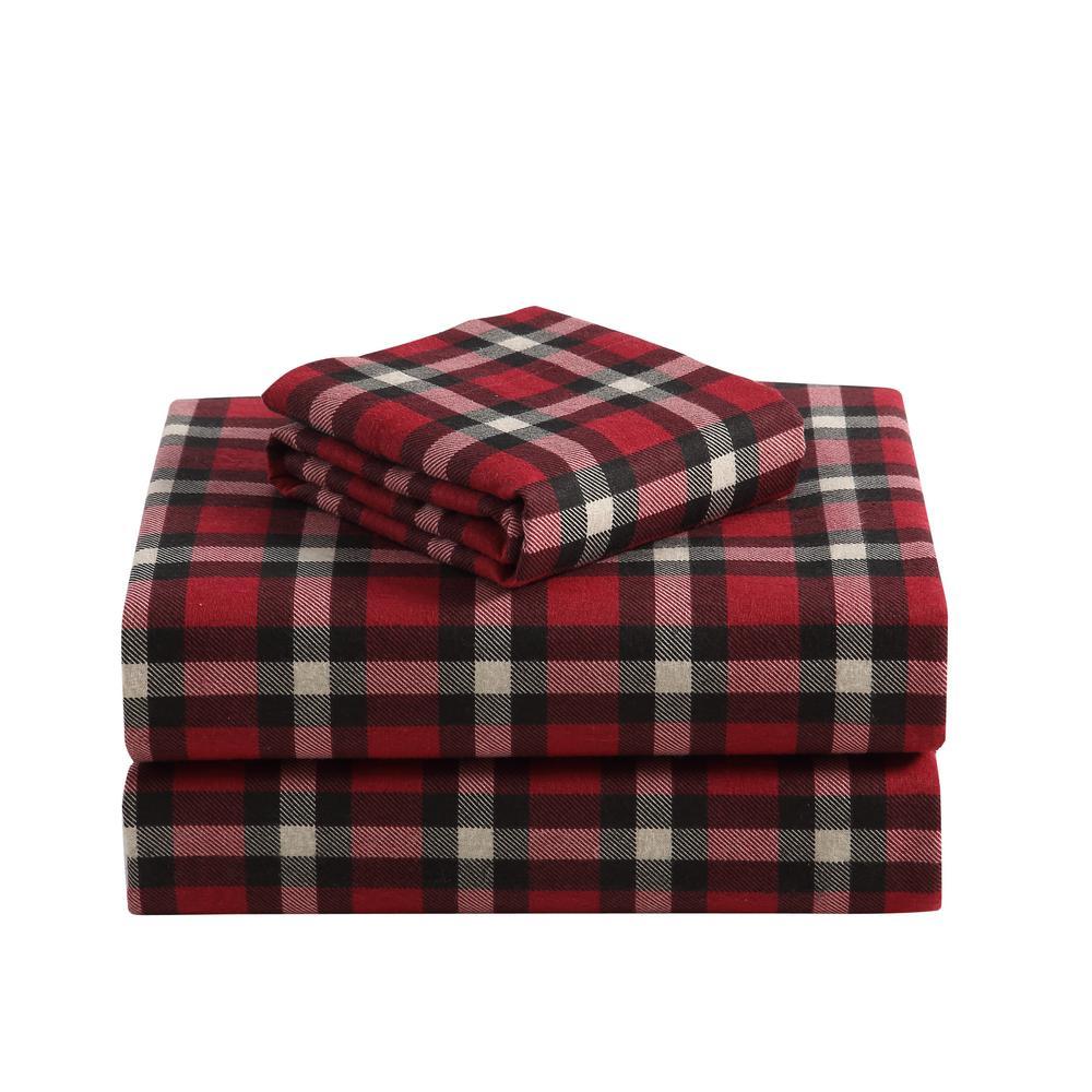 1f74814883 Morgan Home Geraldine 100% Cotton Red Flannel King Sheet Set M597459 ...