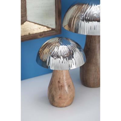 Litton Lane 8 in. Stainless Steel and Wood Decorative Mushroom Sculpture, Multi