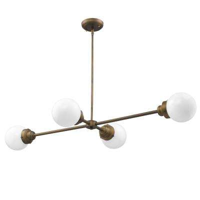 Portsmith 4-Light Raw Brass Island Pendant with White Globe Shades