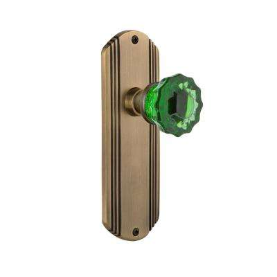 Deco Plate 2-3/8 in. Backset Antique Brass Privacy Crystal Emerald Glass Door Knob