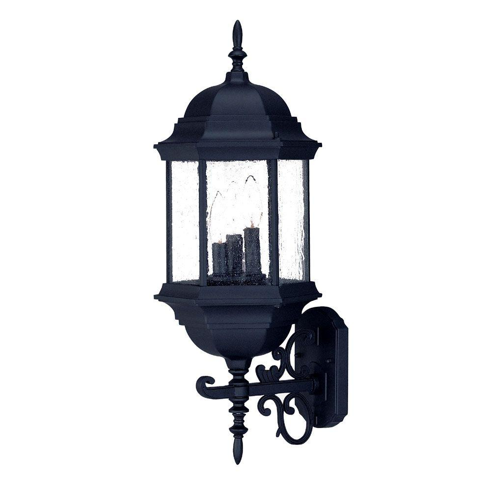 Madison Collection 3-Light Matte Black Outdoor Wall-Mount Light Fixture