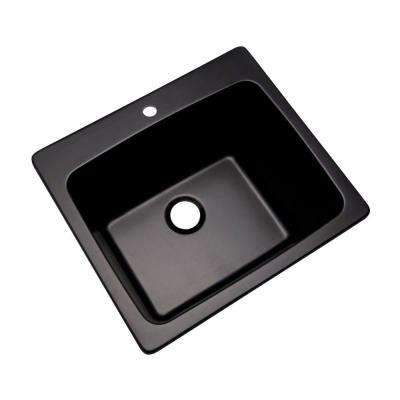 Wakefield Natural Stone Dual Mount Granite Composite 25 in. 1-Hole Utility Single Bowl Sink in Black