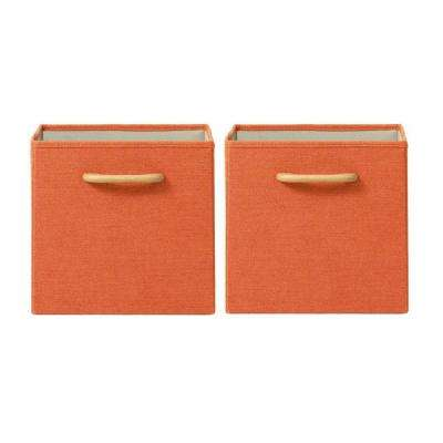 Collapsible Orange Bins with Handles (Set of 2)