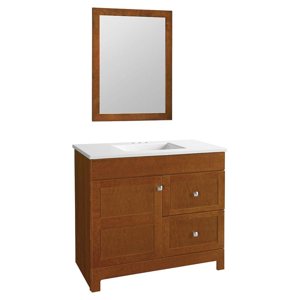 Glacier Bay Artisan 36.5 in. W Bath Vanity in Chestnut with Cultured Marble Vanity Top in White with White Sink and Mirror