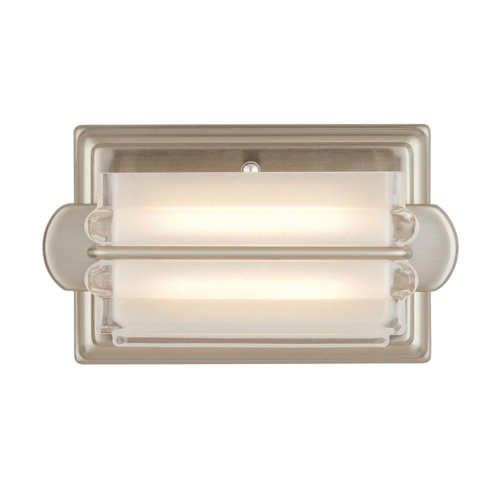 Home Decorators Collection Saltarell 8-Watt Brushed Nickel LED Wall Sconce with Clear Etched Glass