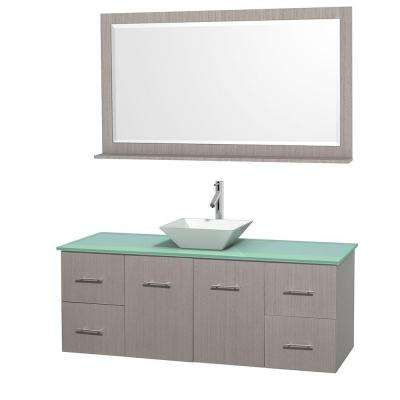 Centra 60 in. Vanity in Gray Oak with Glass Vanity Top in Green, Porcelain Sink and 58 in. Mirror