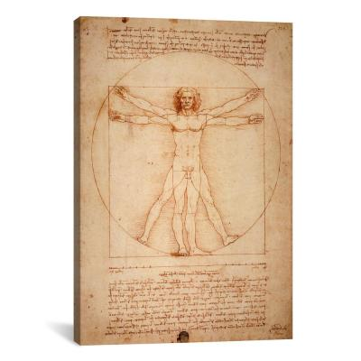 """Vitruvian Man, c. 1490"" by Leonardo da Vinci Canvas Typography Wall Art 18 in. x 12 in."