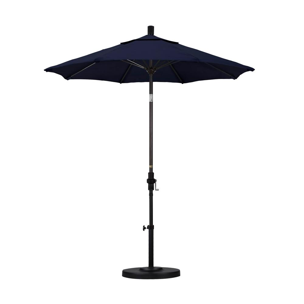 7-1/2 ft. Fiberglass Collar Tilt Patio Umbrella in Navy Blue Olefin