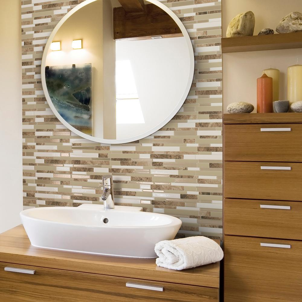 Smart Tiles Milano So 11 55 In W X 9 65 H L And Stick Self Adhesive Decorative Mosaic Wall Tile Backsplash 12 Pack Sm1088 The Home Depot
