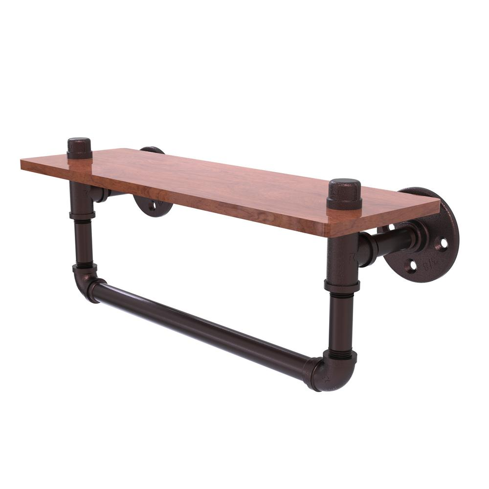 Allied Brass Pipeline Collection 16 in. Ironwood Shelf with Towel ...