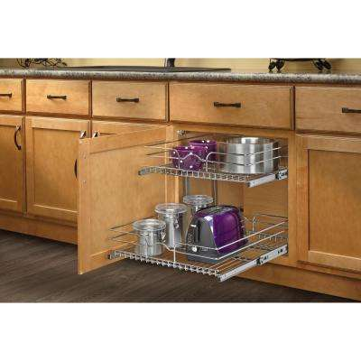 19 In H X 20 75 In W X 22 In D Base Cabinet Pull Out Chrome 2 Tier Wire Basket