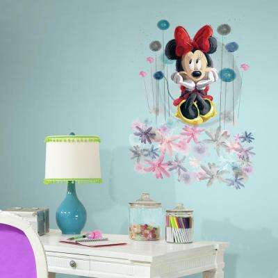 2.5 in. W x 27 in. H Minnie Floral Peel and Stick Giant Wall Graphic