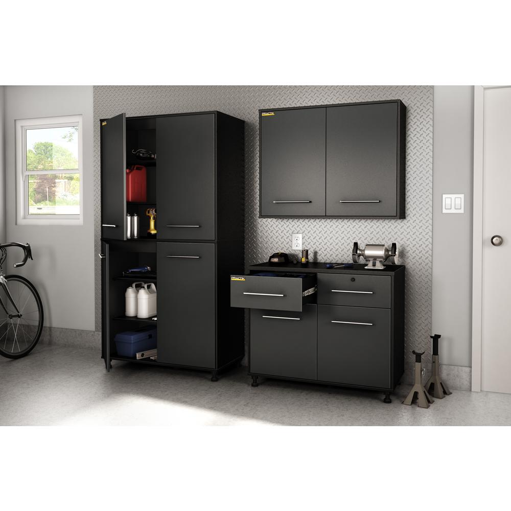 D Composite Pure Garage Storage Cabinet In Black And Charcoal