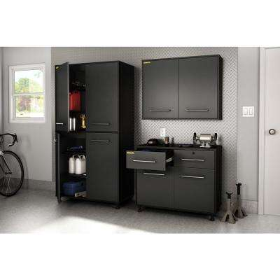 Karbon 73 in. H x 39.5 in. W x 19.5 in. D Composite Pure Garage Storage Cabinet in Black and Charcoal