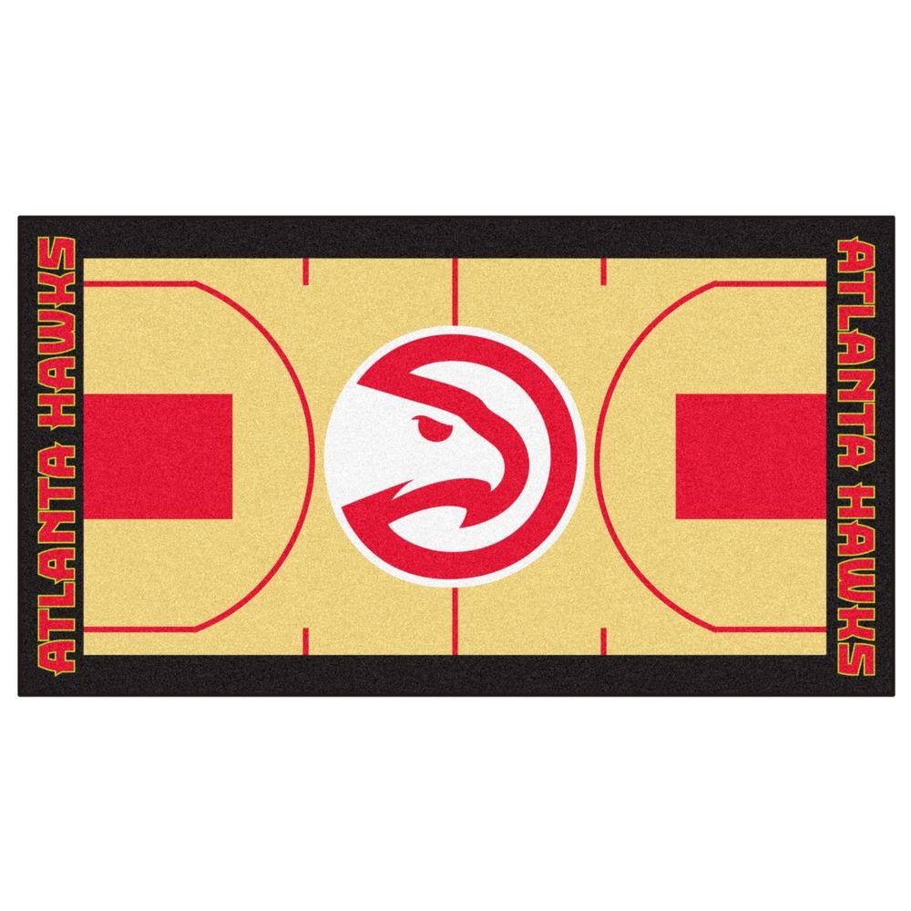 FANMATS NBA Atlanta Hawks Tan 2 ft. 6 in. x 4 ft. 6 in. Indoor Basketball Court Runner