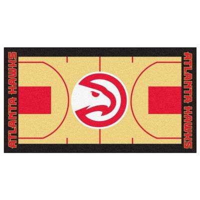 NBA Atlanta Hawks Tan 2 ft. 6 in. x 4 ft. 6 in. Indoor Basketball Court Runner