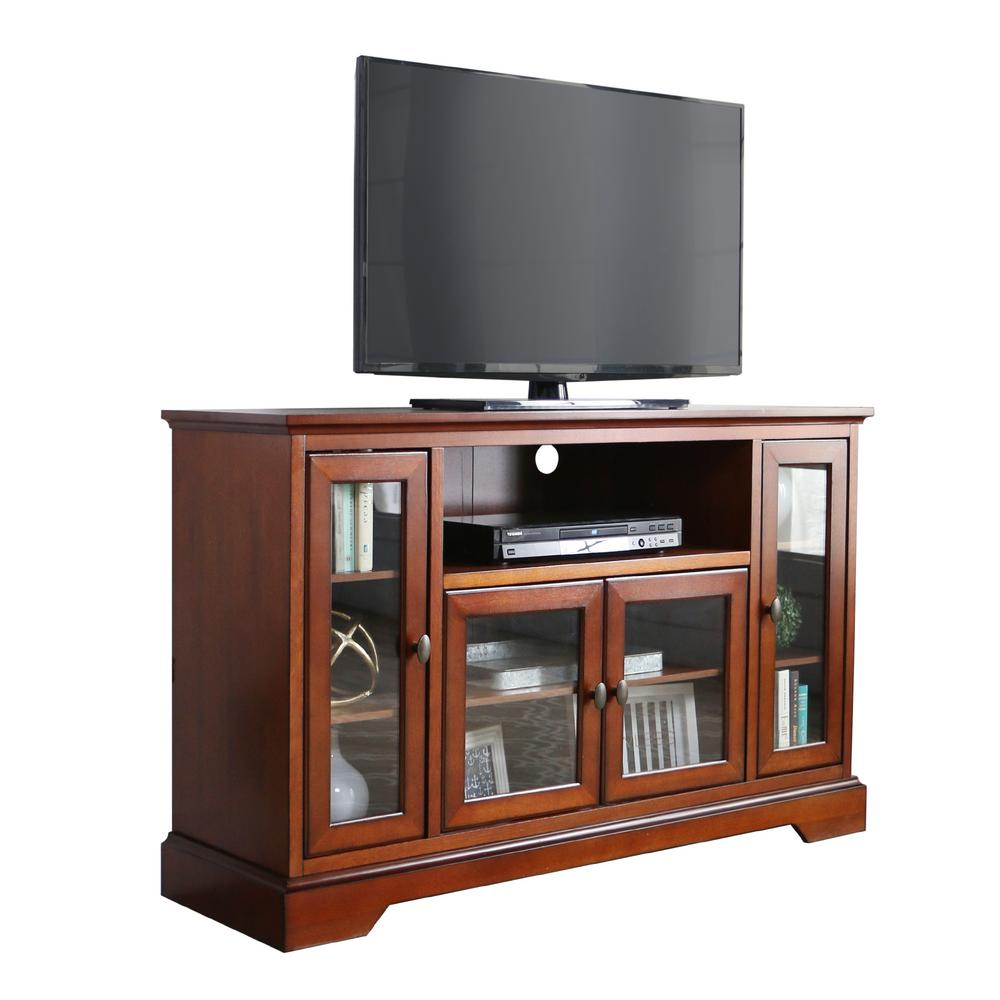 Walker Edison Furniture Company Rustic Brown Entertainment Center Hd52c32rb The Home Depot