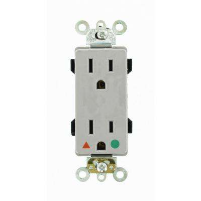 Decora Plus 15 Amp Hospital Grade Extra Heavy Duty Isolated Ground Duplex Outlet, Gray