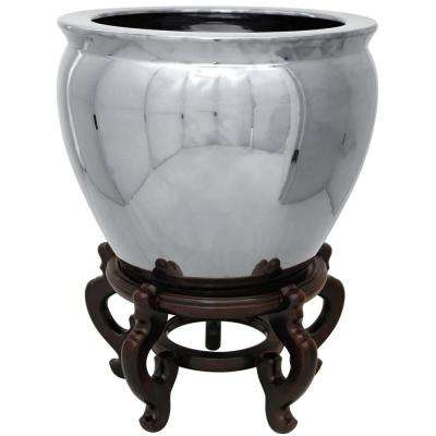 Oriental Furniture 16 in. Pure Silver Porcelain Fishbowl