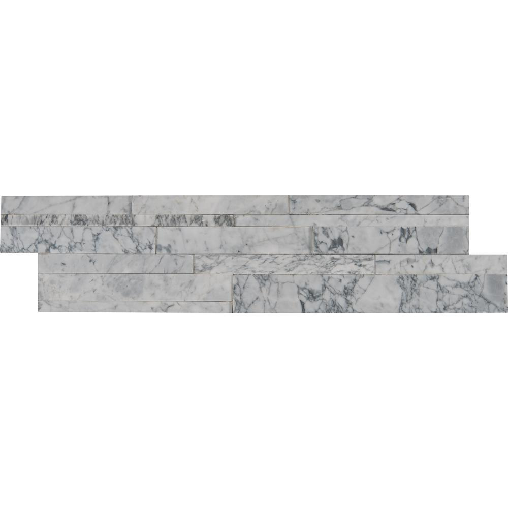 Carrara Luxe 3D Ledger Panel 6 in. x 24 in. Honed