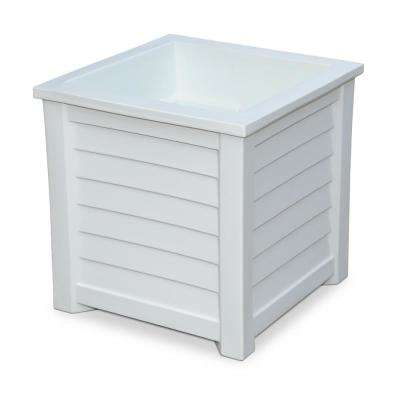 Lakeland 20 in. Square White Plastic Planter