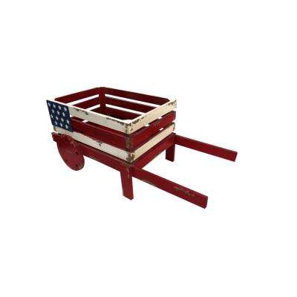 American Flag Wooden Wheel Barrel Planter