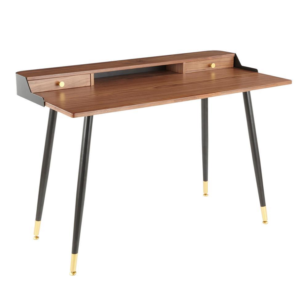 48 in. Rectangular Walnut/Black/Gold 2 Drawer Writing Desk with Built-In Storage