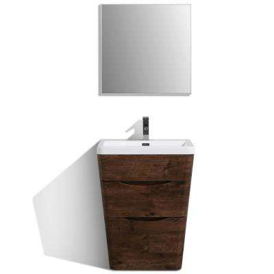 Victoria 25 in. W x 20 in. D x 34 in. H Vanity in Rosewood with Acrylic Top in White with White Basin