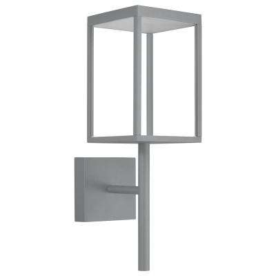 Reveal Medium Rectangle 1-Light Satin Gray LED Outdoor Wall Mount Sconce with Clear Glass Diffuser