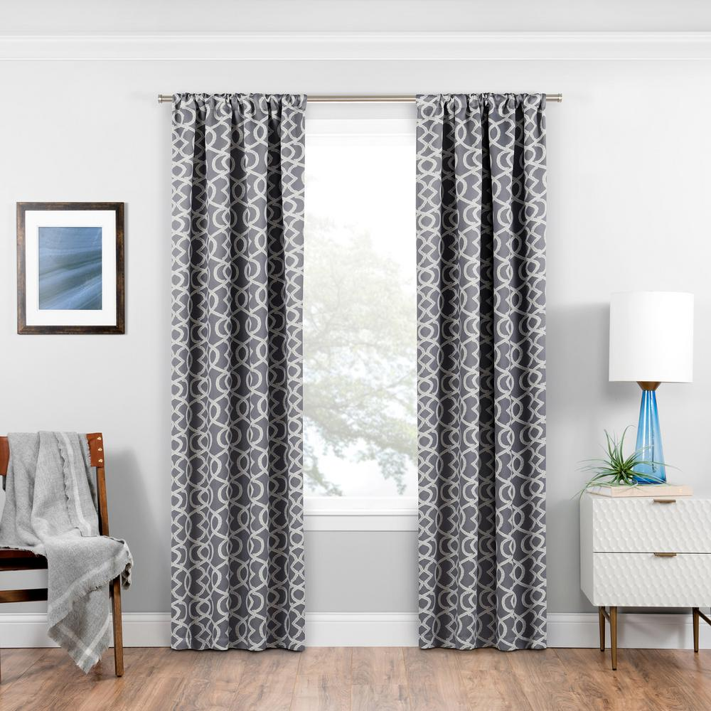 Eclipse Blackout Isanti 95 In. L Grey Rod Pocket Curtain