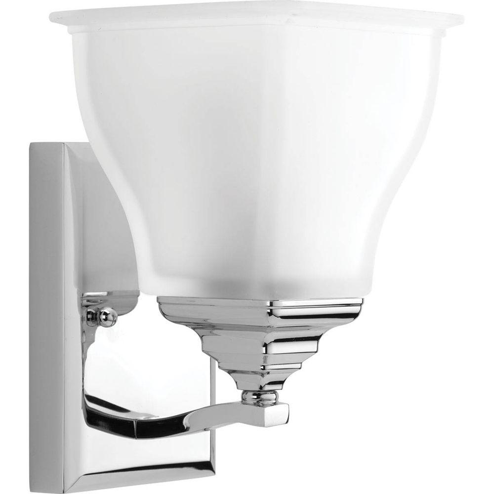 Callison Collection 1-Light Polished Chrome Bath Sconce with Square Etched Glass