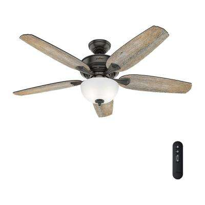 Channing 54 in. LED Indoor Easy Install Noble Bronze Ceiling Fan with HunterExpress feature set