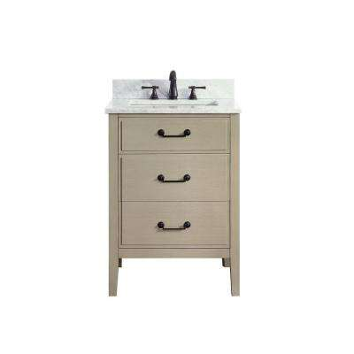 Delano 25 in. W x 22 in. D x 35 in. H Vanity in Taupe Glaze with Marble Vanity Top in Carrera White with White Basin