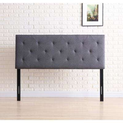 Gray Queen Fabric Upholstered Tufted Rectangular Headboard