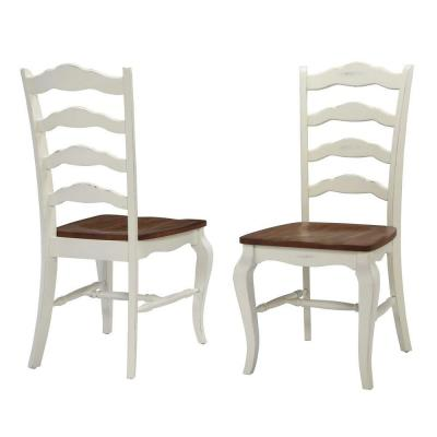 French Countryside Rubbed White Oak Dining Chair (Set of 2)