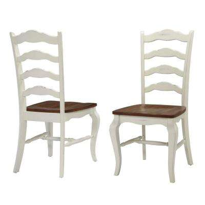 Charmant French Countryside Rubbed White Oak Dining Chair (Set Of 2)