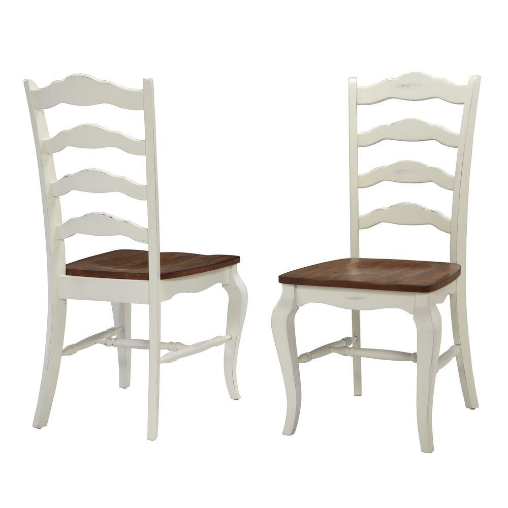 HOMESTYLES French Countryside Rubbed White Oak Dining Chair (Set of  9)-9-809 - The Home Depot