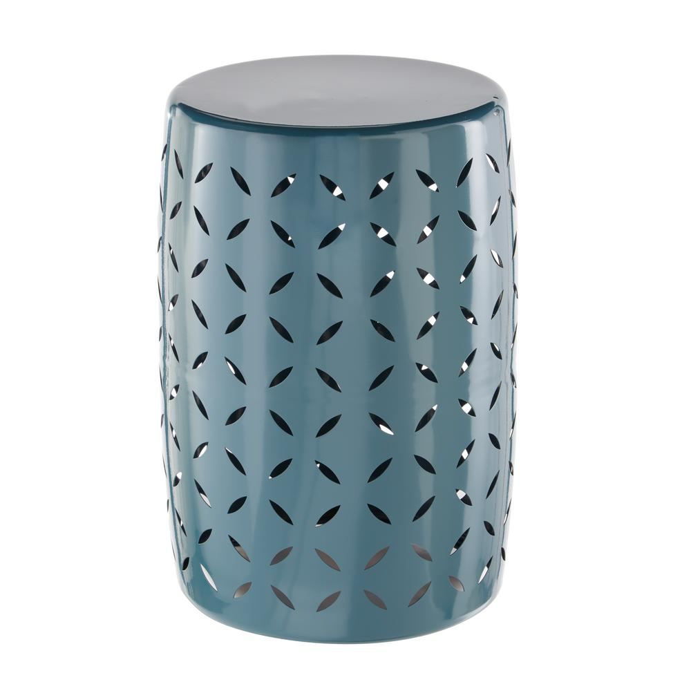Hampton Bay Metal Garden Stool with Geo Pattern in Charleston