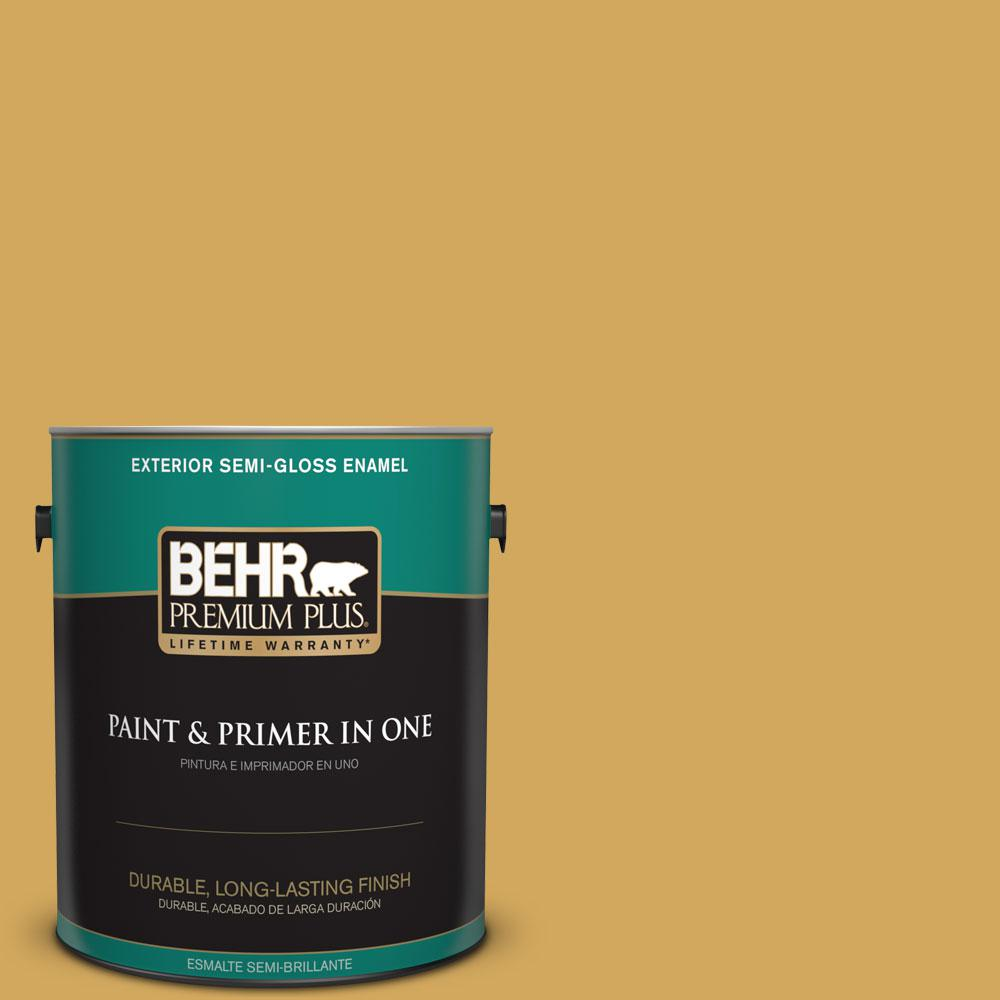 1-gal. #350D-5 French Pale Gold Semi-Gloss Enamel Exterior Paint