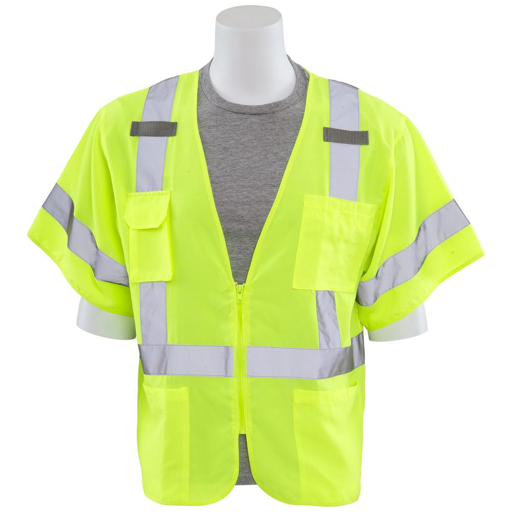 ERB S852 4X Class 3 Multi-Pocket Poly Oxford Front/Poly Mesh Back Hi Viz Lime Vest