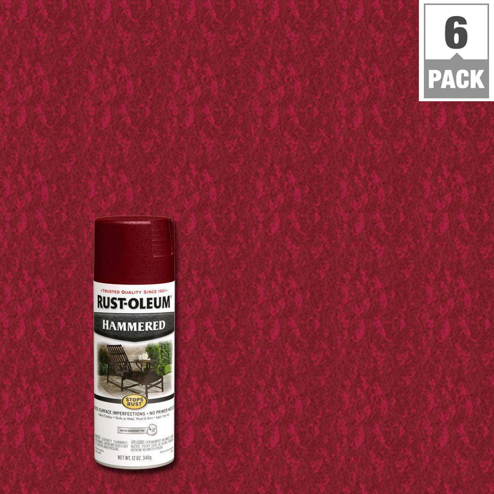 Rust Oleum Stops Rust 12 Oz Protective Enamel Hammered Bright Red Spray Paint 6 Pack 7217830