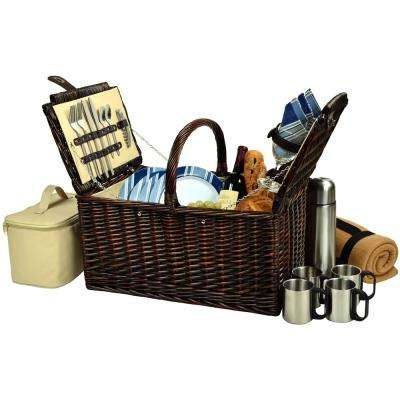 Buckingham Willow Picnic Basket with Service for 4, Blanket and Coffee Set in Blue Stripe