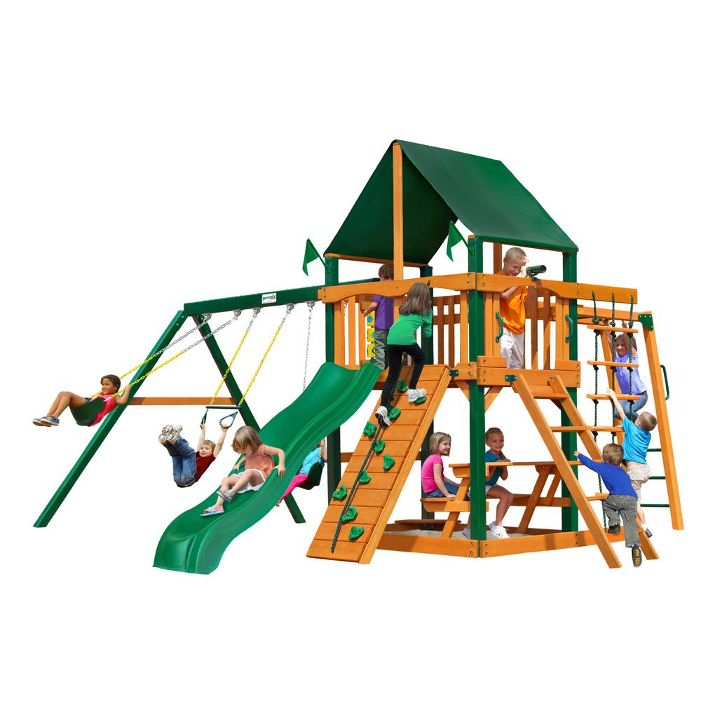 Gorilla Playsets Navigator Wooden Swing Set with Sunbrella Canvas Canopy, Timber Shield Posts and Monkey Bars