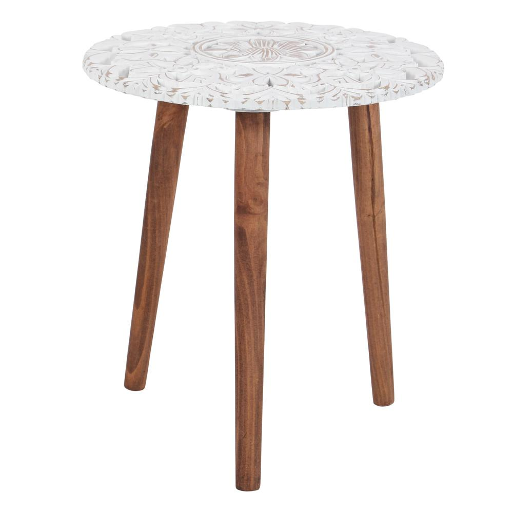 Brown And White Carved Wood Accent Table