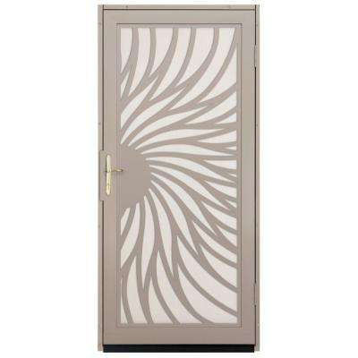 36 in. x 80 in. Solstice Tan Surface Mount Steel Security Door with Almond Perforated Screen and Nickel Hardware