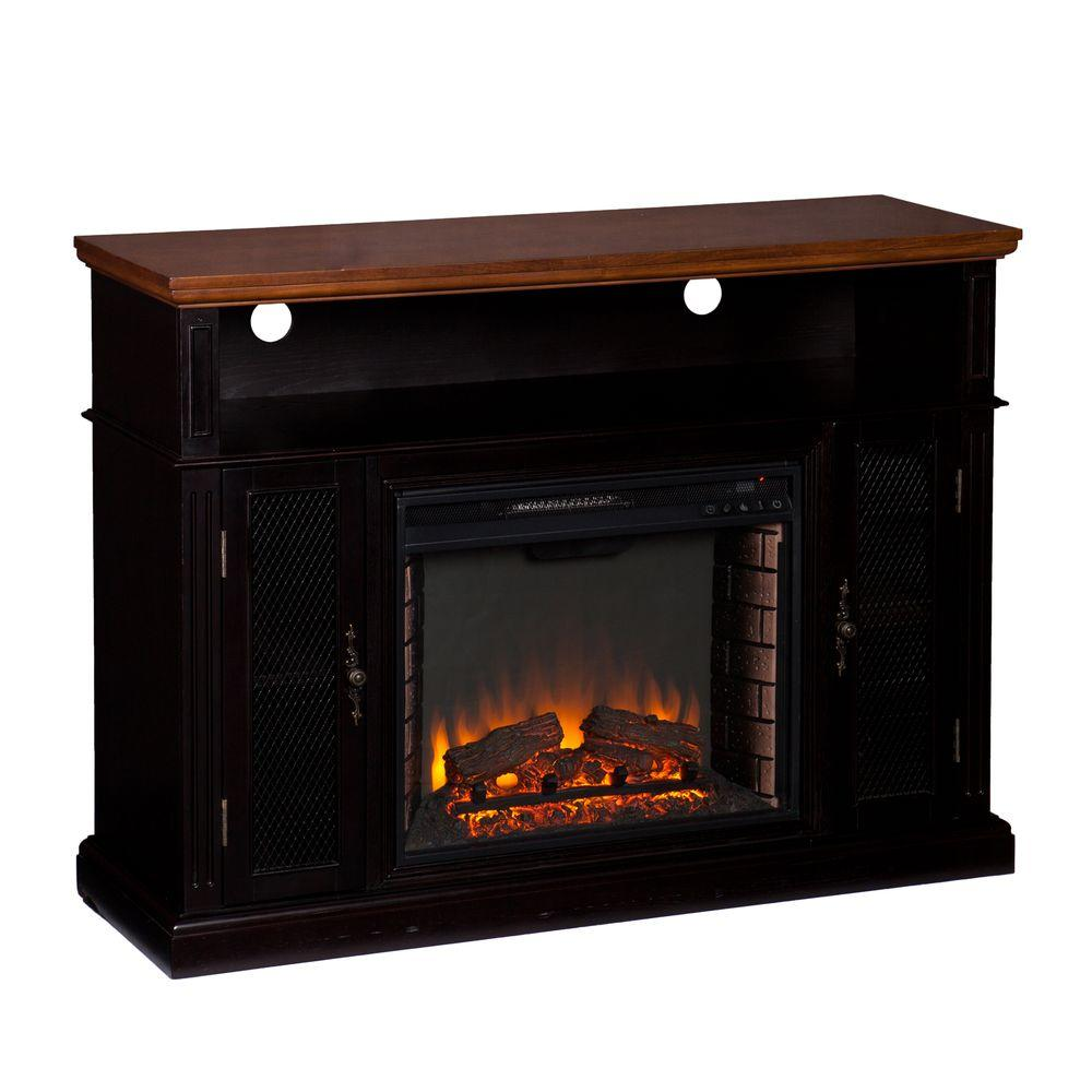 Southern Enterprises Corbin 49 in. Freestanding Media Electric Fireplace in Dark Tobacco/Ebony